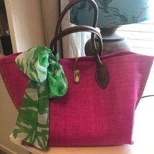 Lily Pulitzer Target pink raffia tote bag w/scarf